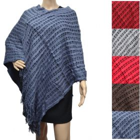 Poncho franges double rectangles