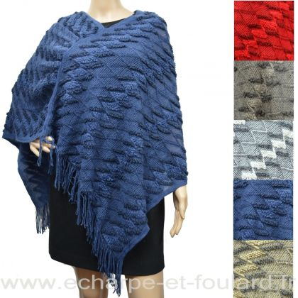 Poncho tricot zig zag