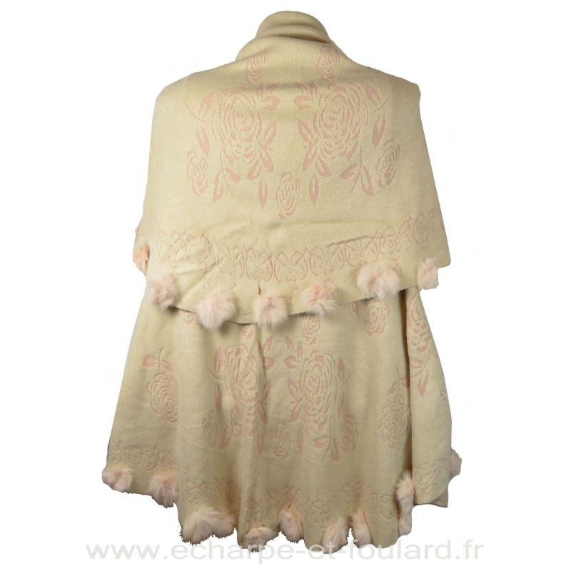 Poncho rond et lapin beige