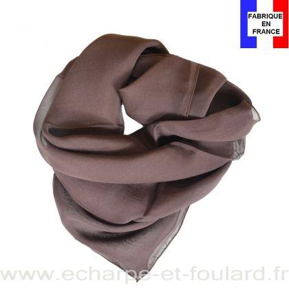 Carré mousseline marron fabriqué en France