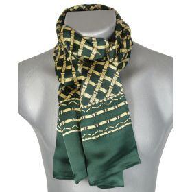 Foulard en soie homme vert et or