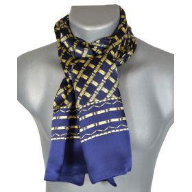 Foulard en soie homme bleu et or