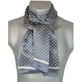 Foulard homme en soie cubes gris