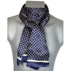 Foulard homme en soie cubes bleu