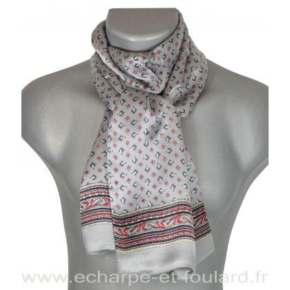 Foulard  en soie homme gris et rouge