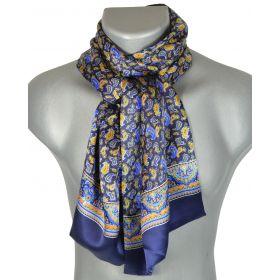Foulard en soie homme paisley bleu