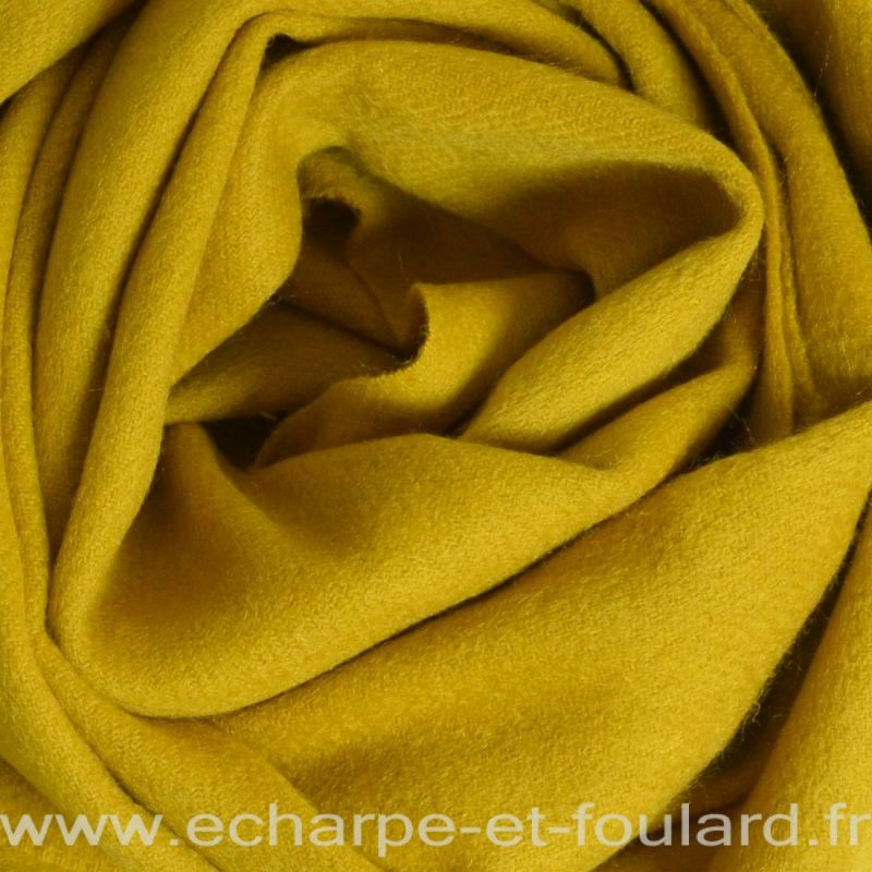 Echarpe en 100% cachemire kaki-jaune