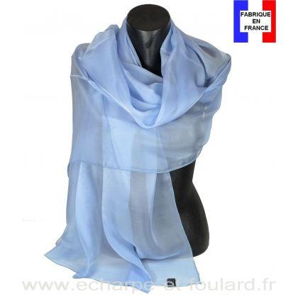meilleur site web Livraison gratuite dans le monde entier profiter du meilleur prix Etole cérémonie en soie bleu-ciel fabriquée en France