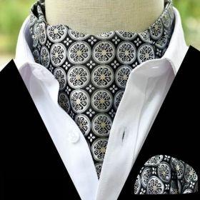 Foulard ascot et pochette à rosaces gris