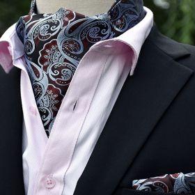 Foulard ascot et pochette paisley marron-gris