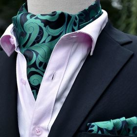 Foulard ascot et pochette paisley vert