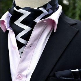 Foulard ascot et pochette zig zag noir