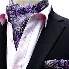 Foulard ascot et pochette paisley violet