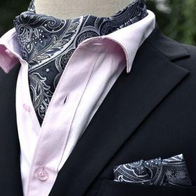 Foulard ascot et pochette paisley gris
