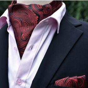 Foulard ascot et pochette paisley rouge et noir