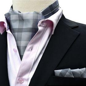 Foulard ascot et pochette écossais gris