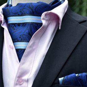 Foulard ascot et pochette bleu paisley et rayures