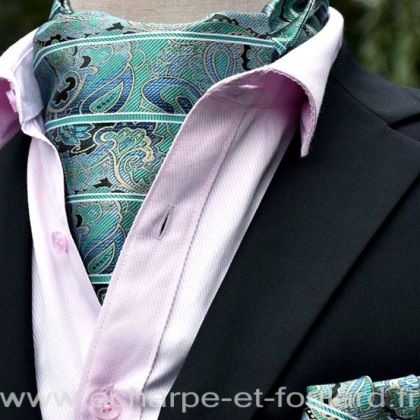 Foulard ascot et pochette vert paisley et rayures