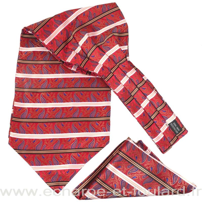 Foulard ascot et pochette rouge paisley et rayures