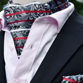 Foulard ascot et pochette gris et rouge