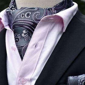 Foulard ascot et pochette gris et violet