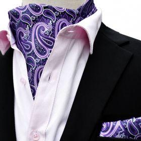 Foulard ascot et pochette violet et blanc