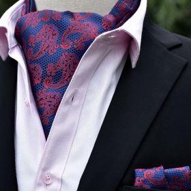 Foulard ascot et pochette imprimé cachemire rose et bleu