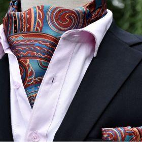 Foulard ascot et pochette cachemire bleu et marron