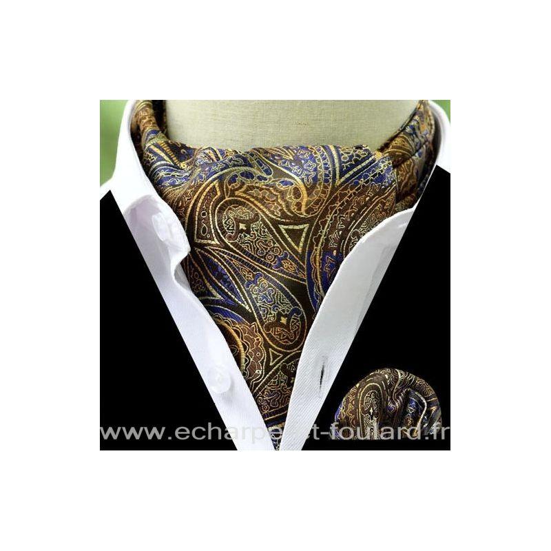 Foulard ascot et pochette imprimé cachemire marron