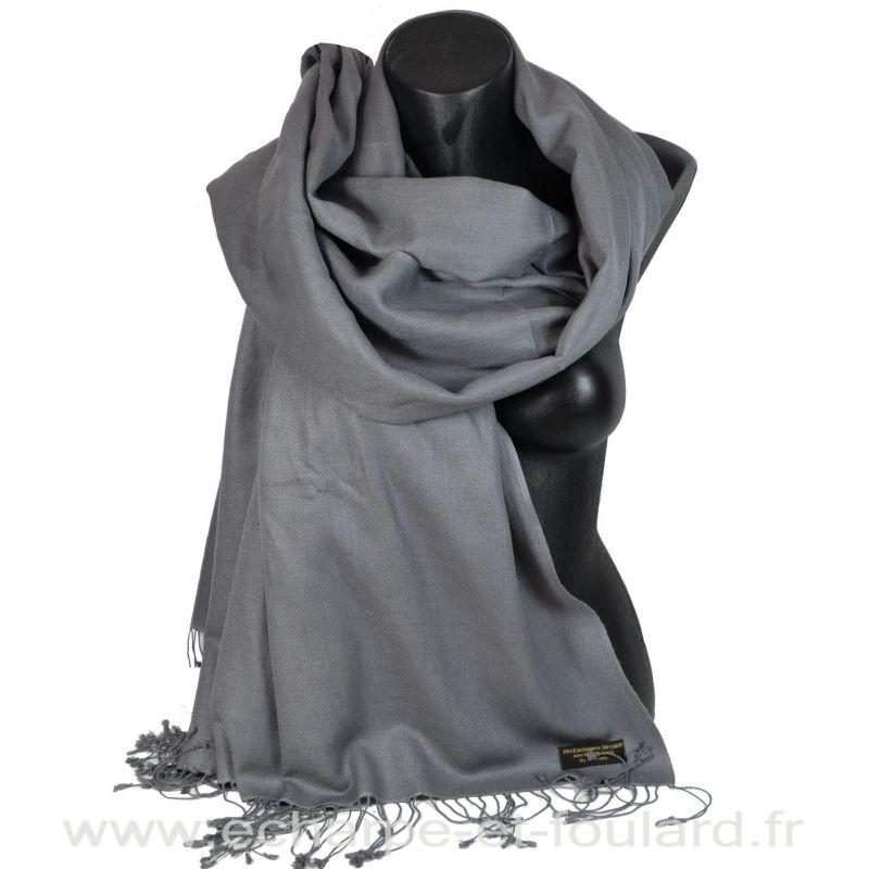 Grande étole 90X200 soie et cachemire gris-plomb
