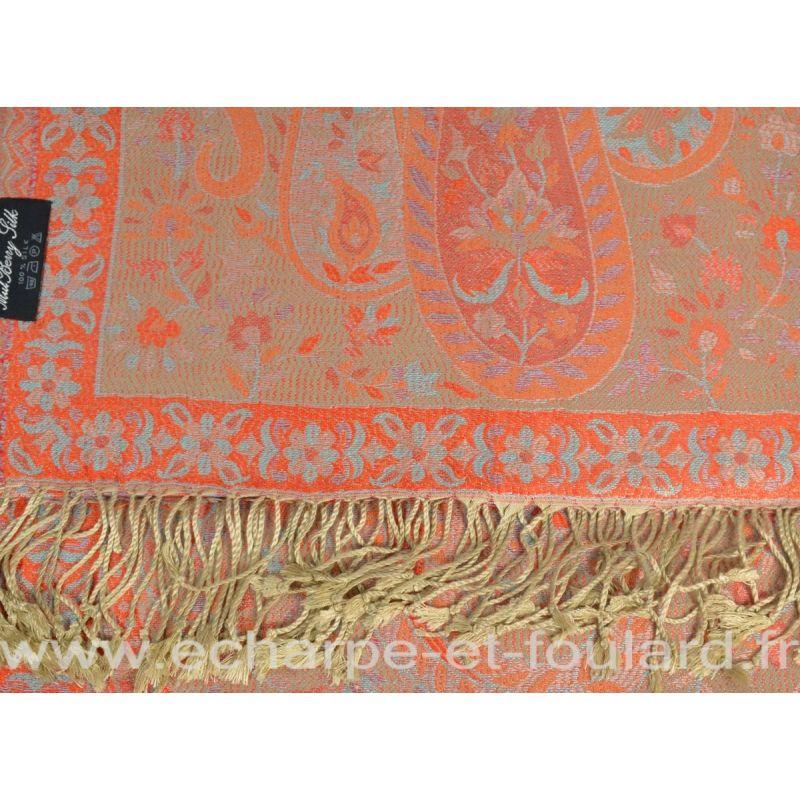Etole soie indienne beige et rouge motif cachemire