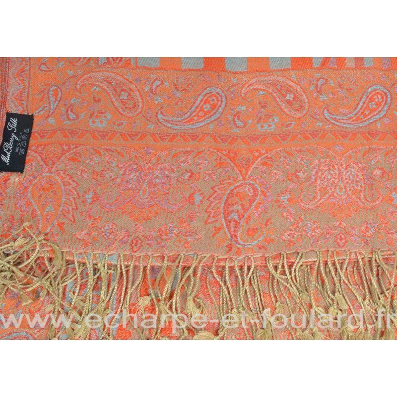 Etole soie indienne beige rouge motif cachemire