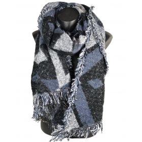 Echarpe trapèze grise à motifs losanges fils lurex