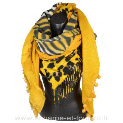 Chale carré patchwork zèbre et léopard jaune