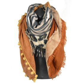Chale carré patchwork zèbre et léopard marron