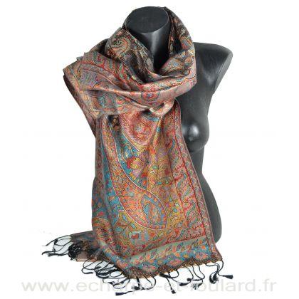 Etole soie indienne bleue-rouge-noire