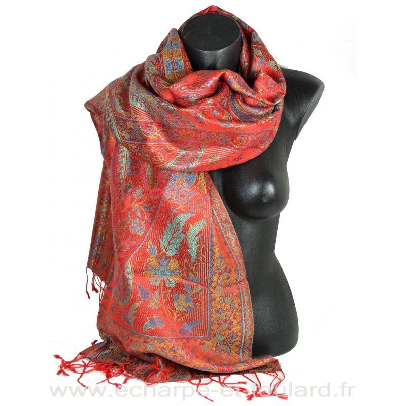 Etole soie indienne jacquard rouge et bleu