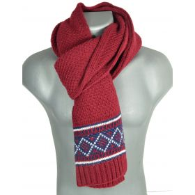 Grande écharpe homme tricotée rouge