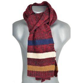 Echarpe homme rayée tricotée bordeaux