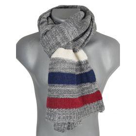 Echarpe homme rayée tricotée grise
