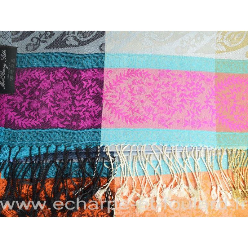 Etole soie indienne jacquard multicolore