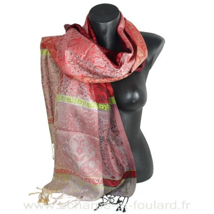 Etole soie indienne jacquard rouge et verte