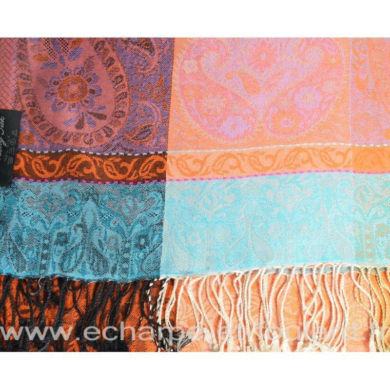 Etole soie indienne jacquard orange et bleu