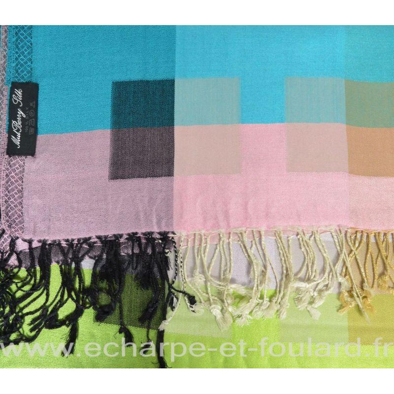 Etole soie indienne carreaux rose-bleu-vert