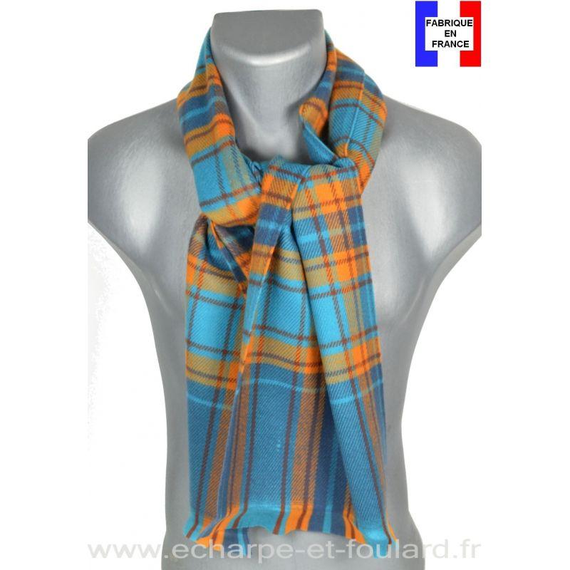 Echarpe carreaux Garry bleu et orange