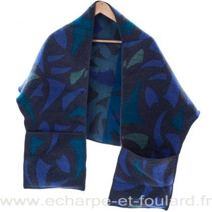 Châle à poches Lima bleu