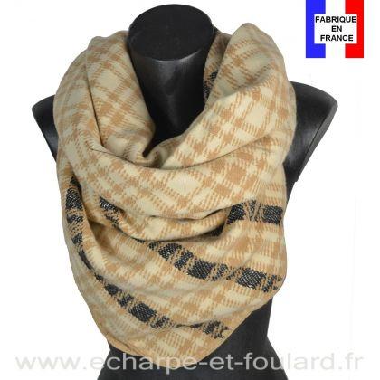 Châle carré Eclat beige-noir made in France