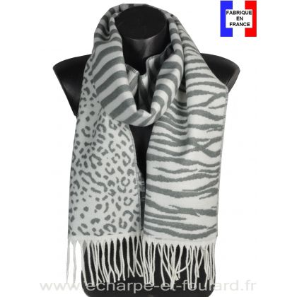 Echarpe Zebra grise made in France