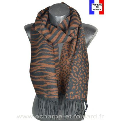 Echarpe Zebra marron made in France