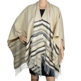 Poncho Vibration beige made in France